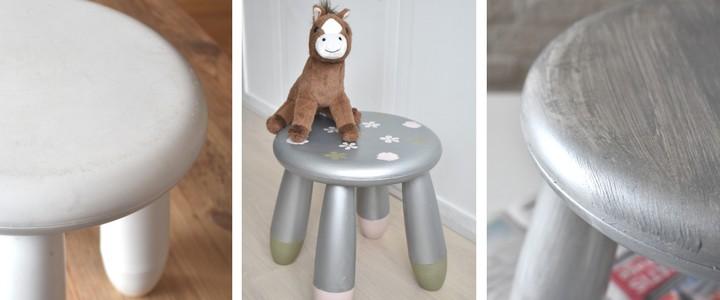 DIY Ikea Mammut Stool Makeover With Metallic Chalk Paint