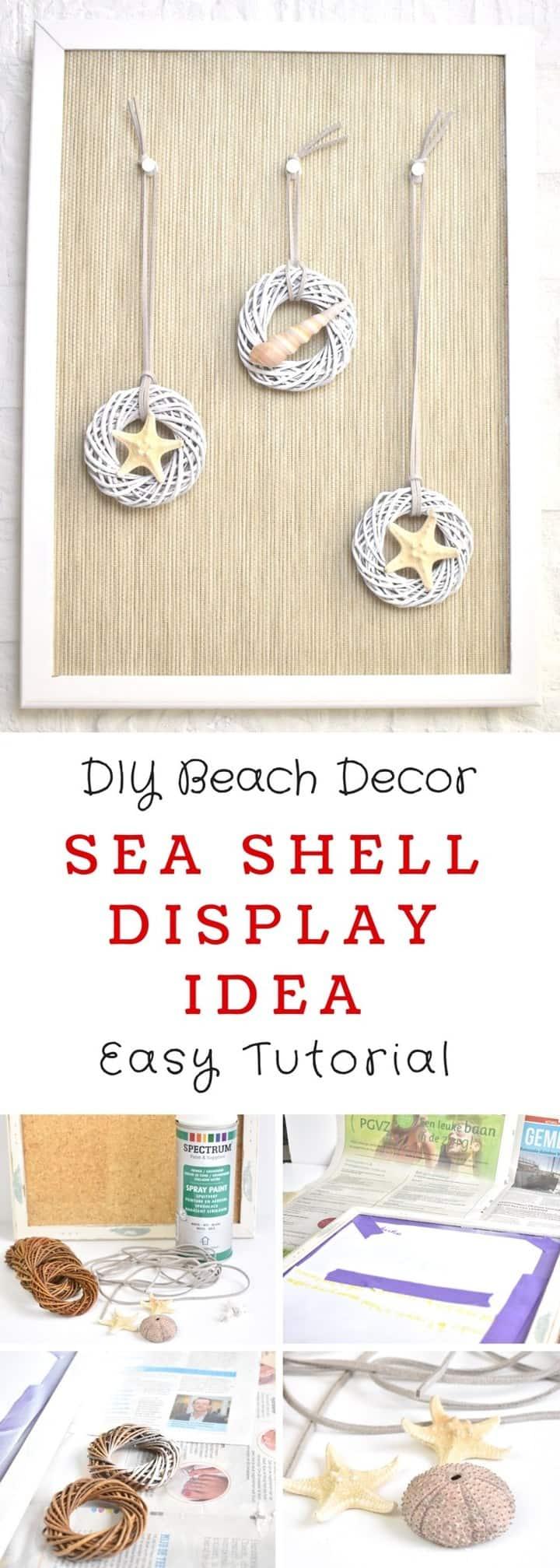 Diy Beach Themed Decor Idea Sea Shell Wall Art